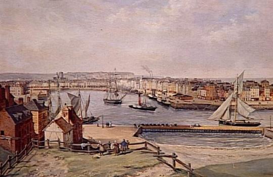 l on auguste asselineau le port de dieppe et les falaises du pollet vers 1860 images d art. Black Bedroom Furniture Sets. Home Design Ideas