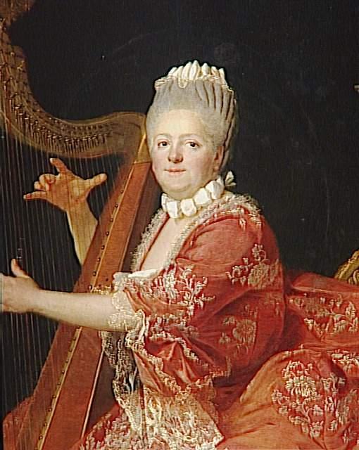 Etienne Aubry | Madame Victoire, fille de Louis XV, jouant de la harpe  (1733-1799) | Images d'Art