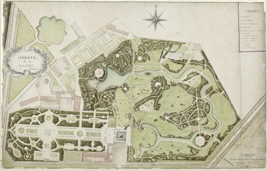 Thomas malgloire daussy plan du jardin de la reine au for Jardin anglais du petit trianon