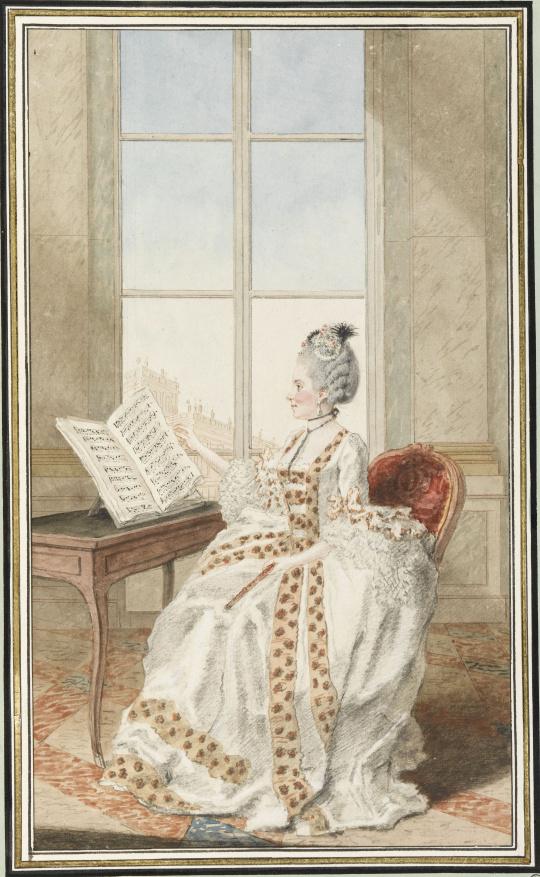 Carmontelle | Mademoiselle d'Avenart, virtuose de la plus grande force,  jouant au concert de la reine | Images d'Art