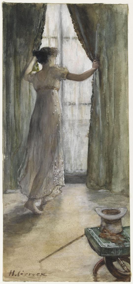 Henri gervex jeune femme debout vue de dos devant une for Ouvrir une fenetre dos
